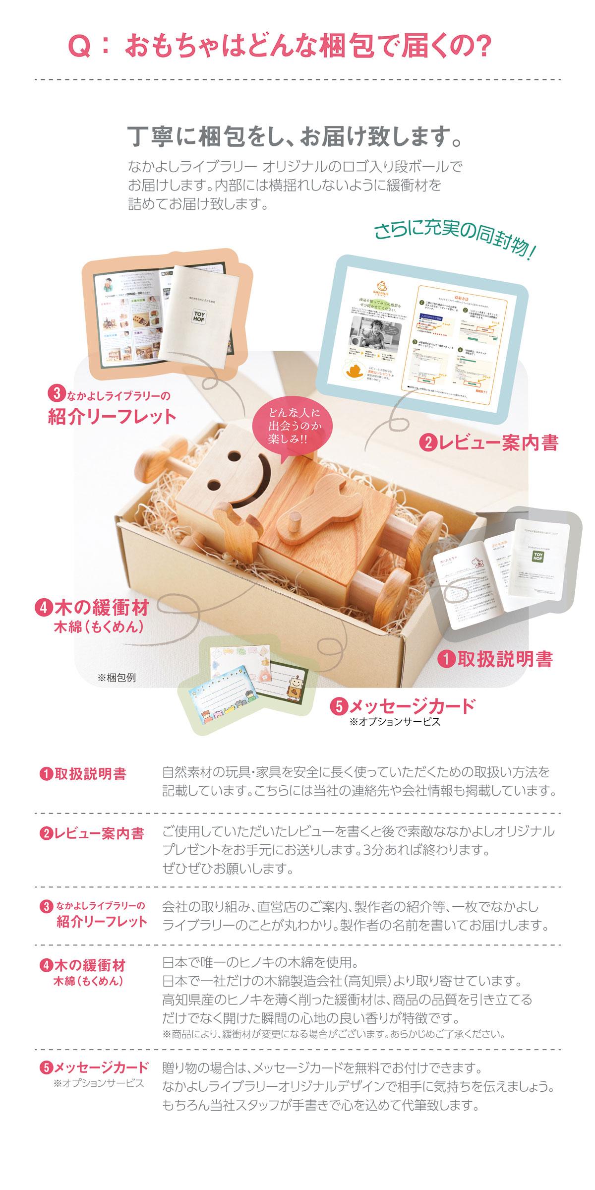 木製玩具の梱包内容