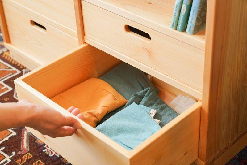 衣類とランドセル収納棚 引き出し